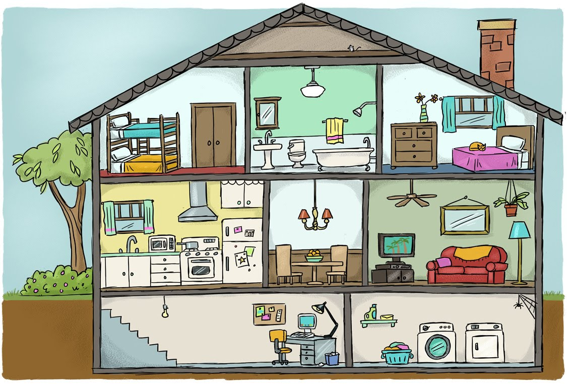 Casa ambienti materiale utile for Disegno casa bambini